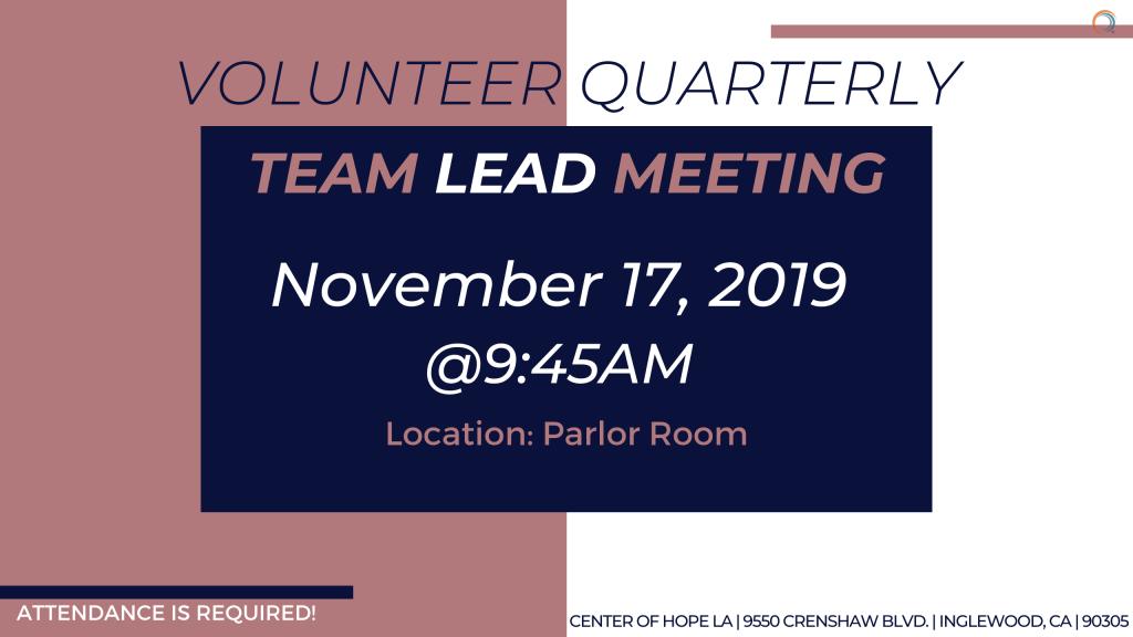 Volunteer quarterly Team Lead meeting