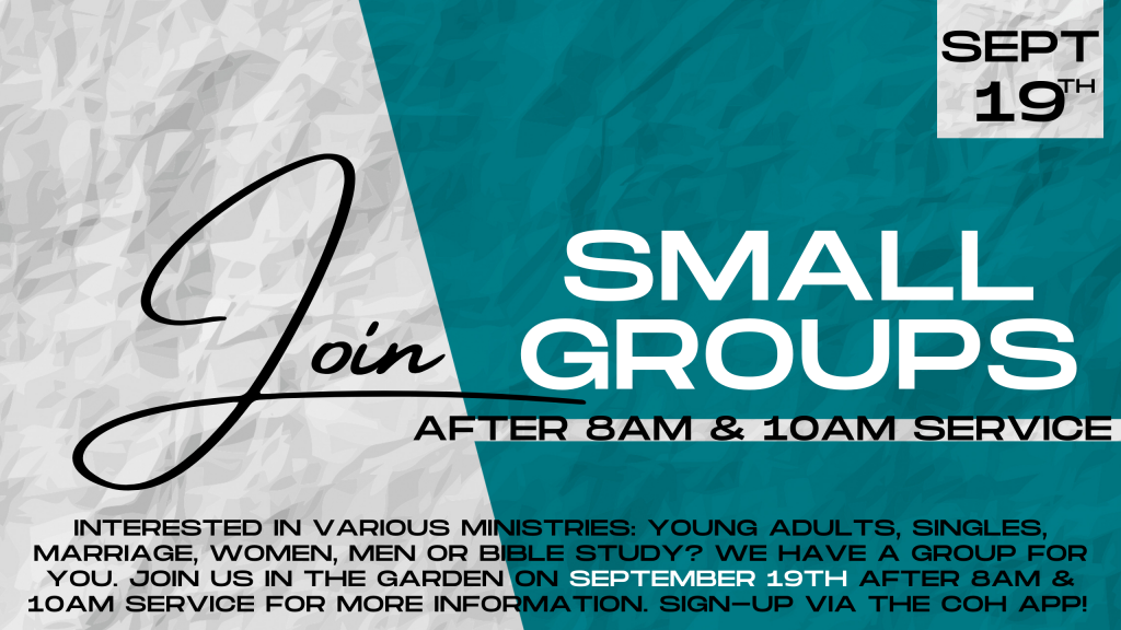 SMALL GROUPS SEPT